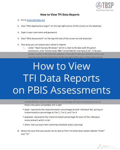 How to view TFI Data Report on PBIS Assessments