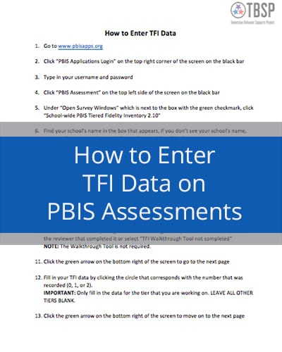 How to enter TFI data on PBIS Assessments