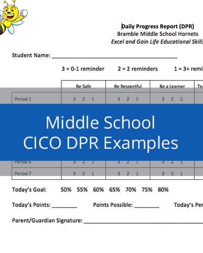 Middle School CICO DPR Examples