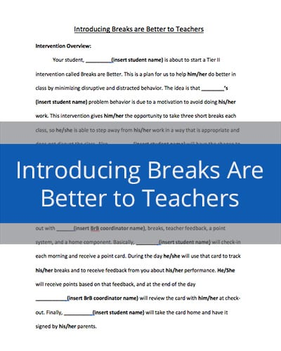 Introducing Breaks are Better to Teachers