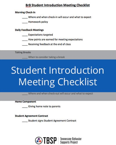 Student Introduction Meeting Checklist